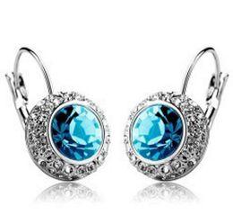 Wholesale Birthday Gifts For Ladies - Women Earings Full Rhinestone Diamond Earrings 925 Silver Pated Crystal Stud Earrings Trend Jewelry for Lady Christmas Gift