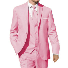 Wholesale Dinner Jackets - Pink Wedding Tuxedos Groom Wear Three Piece Classic Style Custom Made Dinner Party Men Suits Jacket Pants Vest 2018