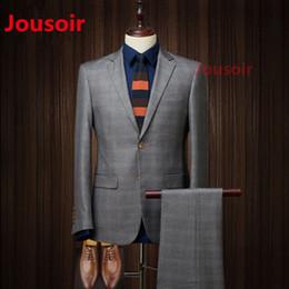 2019 traje moderno para hombres Los hombres de los caballeros azul traje moderno traje de cuadros Slim Fit un botón cena traje CD5 rebajas traje moderno para hombres