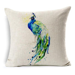 Almohadas de pavo real online-Peacock Feather Cushion Cover 11 Style Watercolor Eye Funda de Almohada Funda de Almohada de Algodón de Lino Decorativa Dormitorio Sofá Decoración