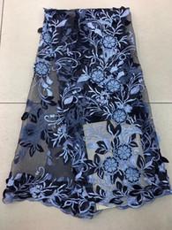 2019 темно-синие ткани цветы EPY1101 (5 ярдов/шт) темно-синий африканский тюль кружевной ткани замечательный вышитые французский чистая кружева с 3D цветы бусины для платья скидка темно-синие ткани цветы