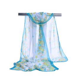 Wholesale Little Silk Flowers - new chiffon georgette silk scarf women Bohemia long shawls Spring and Autumn Beauty Little flower scarves and wraps sunscreen cape 10 Color