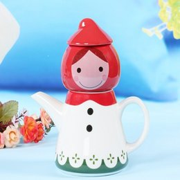 Wholesale Teapot Cup Sets - Lovely Little Red Riding Hood Ceramic Cups Set Porcelain Doll Teapot Sets Cartoon Novelty Kettle Xmas Gift