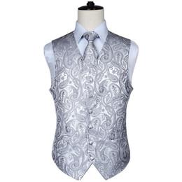 i nozze legano le tasche quadrate Sconti Classico uomo Paisley Jacquard Gilet Gilet Hankerchief Feste di nozze Tie vest Suit Pocket Square Set New