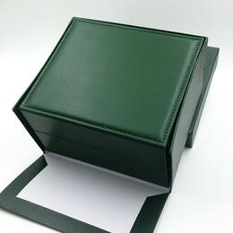 Настоящие часы онлайн-Высокое качество Супер Роскошные Часы Марка Мужские Часы Зеленый PU Кожаные Коробки Оригинальные Настоящие Деревянные Коробки Бумаги Подарочные Часы Для Rolex Watch Box