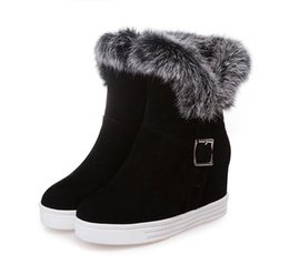 Wholesale American Wedges - Fashion European and American rabbit fur boots new PU female boots
