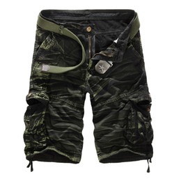 Wholesale loose army pants - Men Camouflage Cargo Shorts Brand Male Army Loose Cargo Pants Men Casual Work Short Pants Plus Size No Belt