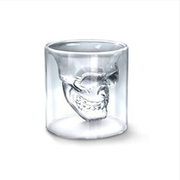 whisky glass cup Promo Codes - Creative Skull Wine Glass Cup Double Layer Transparent Whisky Glass Personal Use Or Bar Decoration