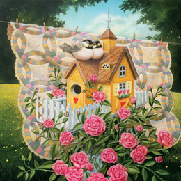 Wholesale Canvas Bird Paintings - Diy diamond painting cross stitch kit rhinestone full round diamond embroidery flower rose bird home mosaic decoration yx2219