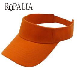 Wholesale Orange Tennis Balls - ROPALIA Cotton Sun Visor Hats Woman Man Tennis Baseball Caps Candy Color Women Hats