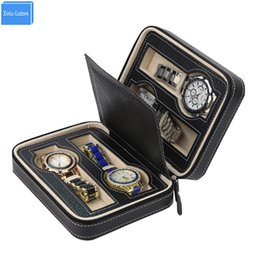 Wholesale Global Leather - 2017 Global Luxury Black Zippered 4 Case Organizer Leather Men's Black Leather Watch Travel Case For Four Watches Velvet Lining