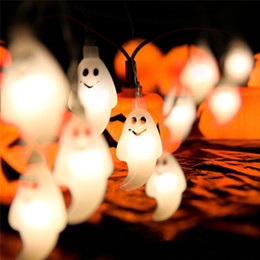 2019 luci stringa del cranio 10 LED Hanging Decor Halloween Pumpkins / Ghost / Spider / Skull LED String Lights Lanterne Lampada per fai da te Home Outdoor per feste luci stringa del cranio economici
