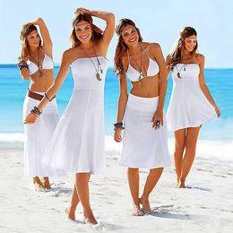 Wholesale Black Chiffon Beach Cover Up - Women Bikini Dress Beachwear Sexy Convertible Cover Up Beach Wrap Skirt Variety Bathing Swimwear