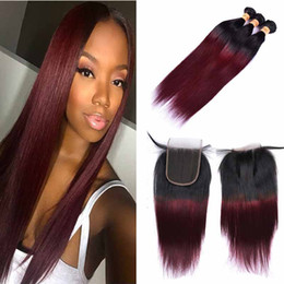 two toned straight hair Promo Codes - Ombre Colored Two Tone Weave 1B 99j Straight Hair Extensions Weave Bundles with Free Part Lace Closure Unprocessed Virgin Human Hair Vendors