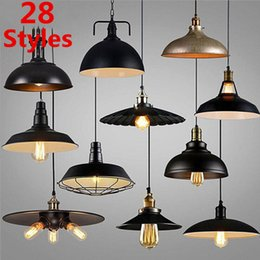 Wholesale 28 led light bar - 28 Style Vintage Loft Pendant Light Nordic Industrial Metal Bronze Lamp Retro LED Hanging Lighting Fixtures for Bar Restaurant