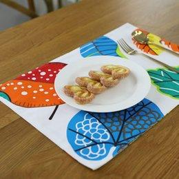 Wholesale Restaurant Linens Wholesale - 4pcs lot Double Thick Colorful Leaf Cotton Linen Insulation Table Mats For Kids, Home And Restaurant Decoration Western Pads