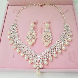 Wholesale Jewelry Setting Types - Luxury Rhinestones Bridal Jewelry Sets Pearls Silver Crystals Wedding Necklaces And Earrings For Bride Prom Evening Party Accessories