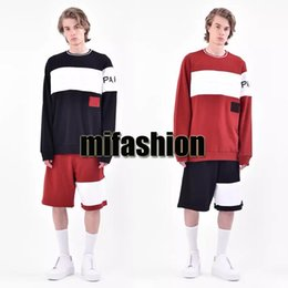 Wholesale women clothing europe - 18ss Luxury Winter Europe Paris Embroidery Contrast Patchwork Hoodies Fashion Men Clothes O-neck Pullover Sweatshirt Women Jumpers