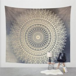 Copriletto di cotone indiani online-2018 Moda Indian Wall Decor Hippie Arazzi Boho Psychedelic Mandala Tapestry Wall Hanging Lenzuolo in cotone Throw Bed Bedspread