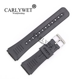 Wholesale Replacement Spring - CARLYWET 22mm New Men Lady Black Replacement Silicone Rubber Straight End watch band Strap Silver Polished Pin Spring Bar Buckle
