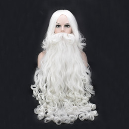 santa beard wigs Promo Codes - Christmas Cosplay Wig Beard Santa Claus White Curly Long Synthetic Hair Heat Resistance + Wig Cap