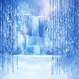 Wholesale Blue Photography Backdrops - Frozen Waterfall Blue Winter Scenic Photography Backdrops Printed Snow Covered Trees Icefall Kids Children Birthday Party Photo Background
