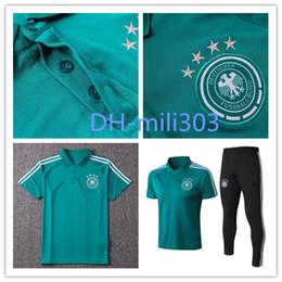 Wholesale Polyester Short Sleeve Shirts - 2018 Germany POLO Soccer Jerseys training suit 18 19 Muller Reus Ozil Futbol Camisa Football polo shirt Short sleeve tracksuit Sportswear