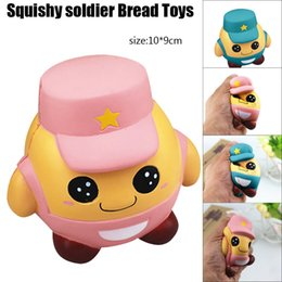 Wholesale pink rubber doll - Pink Blue Soldier Doll Squishy Jumbo Kawaii Toys Slow Rising squeeze Kid Toy collection Relax Novelty Items FFA302 60PCS