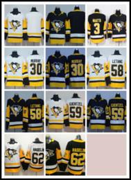 Питсбургская хоккейная майка пустая онлайн-2019-2020 Мужские швы Питтсбург Пингвинз Бланк № 3 MAATTA / # 58 LETANG / # 59 GUENTZEL / # 30 MURRAY / # 62 HAGELIN Черно-белые хоккейные майки Ice