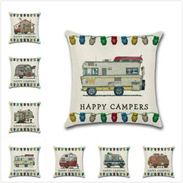 Wholesale cover homes - Happy Campers Touring Car Series Pillowcase Throw Pillow Case Sofa Cushion Cover 45*45CM Home Cafe Office Decor Gift for Housewarming Party