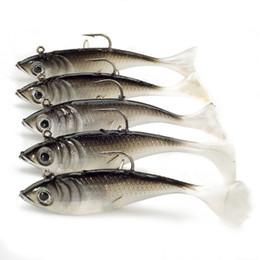 Mare di esca online-Esche morbide 5pcs / lot 10.5g 8cm Pesca Shad Verme Esca Jig Testa Pesca a Mosca Sea Bass Carpa Wobbler Esche Esche Da Pesca