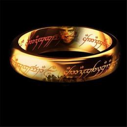 2019 anillo de oro de los hombres baratos El señor de los anillos tiene anillos de acero titanium de color dorado para mujeres, hombres y mujeres, para hombre, anillo, dedo, moda, joyería barata rebajas anillo de oro de los hombres baratos