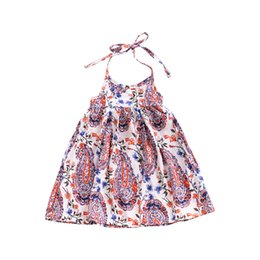 Wholesale 3t Holiday Dresses - Bohemian Dress for Girls Fashion Floral Print Halter Neck Holiday Beach Dress INS Hot Sales Summer Children Sleeveless Dress