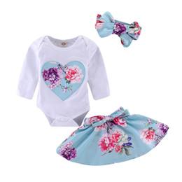 MikrdooNewborn ropa de bebé trajes de manga larga mameluco + vestido floral + diadema 3pcs establece vestidos de niñas pequeñas desde fabricantes