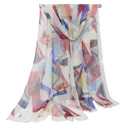 pañuelos impresos georgette Rebajas Chal largo impreso geométrico para mujer Otoño Georgette bufanda elegante musulmán Hijab