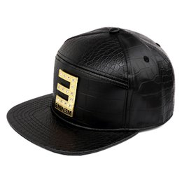 Vogue EMINEM Gold Crocodile Baseball Caps PU Leather E Letter Snapback Hats  Rhinestone Hip Hop Hat for Men Women Casquette af81724ffae6