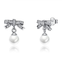 Wholesale Authentic Pearl Earrings - 2018 New Spring Authentic 925 Sterling Silver Dazzling Crystal Bow Droplets White Pearl Earrings For Women Girls Wedding Pearl Jewelry