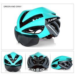 d1e5ce17a2 INBIKE Casco Ciclismo Casco de Bicicleta Gafas Magnéticas Mountain Road  Bike Cascos Gafas de Sol Gafas de Ciclismo 3 Lentes de Bicicleta