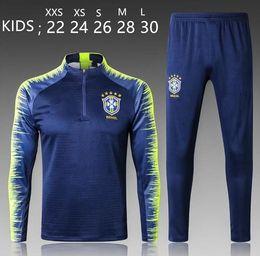 Camisas largas para medias online-2018 Brasil KIDS Chándal Trajes de entrenamiento Uniformes Camisas Chandal Chándales Survetement Pantalones ajustados de manga larga Con media z