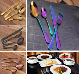 Wholesale Wholesale Wedding Dinnerware - Stainless Steel Cutlery Set Rainbow Gold Plated Dinnerware Fork Knife Spoon Dinner Set for Wedding Party 4pcs set
