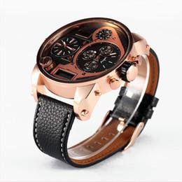 ee685618b4e Moda de Luxo Da Marca Olum 5.6 cm Mens Big Face Relógios 3 Fuso Horário  Analógico Digital Casual Relógio Masculino Relógio Relogio masculino Marca