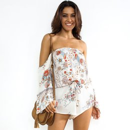 94a1210647f7 Floral Print Rompers Womens Jumpsuit Summer Women Off Shoulder Sexy Boho  Beach Short Playsuit Female Casual Overalls