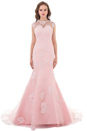 Wholesale Portrait Female - Custom Made Beautiful female Pink Appliqued Prom Dress 2018 Tulle Vintage Mermaid Long Evening Party Gown with Sash Good Design