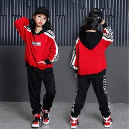 2019 red jazz kostüme Red Girls Ballroom Jazz Hip Hop Tanz Performance Kostüme Hoodie Shirt Tops Hosen Kinder Jungen Tanzen Kleidung Outfits Bühne tragen rabatt red jazz kostüme