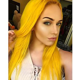 cosplay white straight long hair Coupons - Hot Sexy Cosplay Yellow Party Wigs 180% Density Long Silky Straight Fiber Hair Heat Resistant Synthetic Lace Front Wigs for White Women
