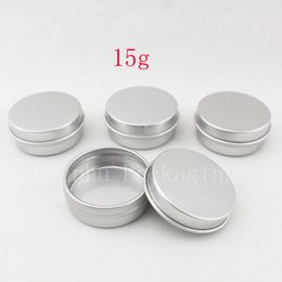 Wholesale Metal Tins Lids - 15g aluminum empty cosmetic container with lids 15ml small round lip balm tin solid perfume cosmetic packaging jar sample bottle