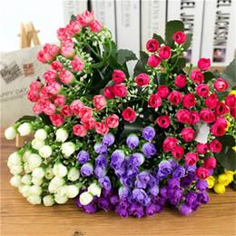 1 Bouquet 36 Testa Piccola Bud Rose Fiori artificiali Seta Rosa Fiori decorativi Decorazioni per la casa per il matrimonio di San Valentino da