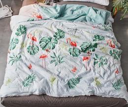 Algodão Comforter Verão Impresso Abacaxi Cobertor Flamingo Para crianças Estudante Adultos Dos Desenhos Animados Ar Condicionado Colcha Lavável de Fornecedores de edredom rainha rosa