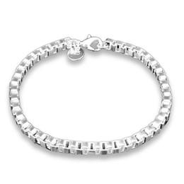 Wholesale 925 Mens Bracelet - Hot Sale 4mm Box Chain & Link Bracelets 925 silver Pleated jewelry Fashion Jewelry Women Mens Kids Brief Bracelet 2018 New