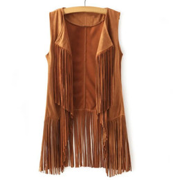 long suede vest Promo Codes - Women Autumn Spring Vest Long Tussals Waistcoat Faux Suede Ethnic Sleeveless Tassels Fringed Vest Cardigan